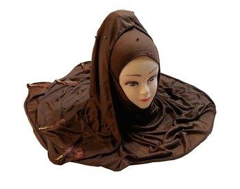 Coffee Color Beads And Tassel Work Hosiery Cotton Women's Headscarf