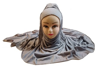Grey Color Beads And Tassel Work Hosiery Cotton Women'S Headscarf
