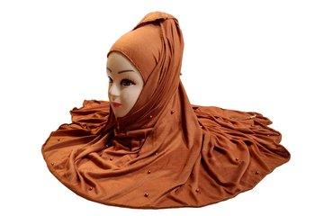 Mustard Color Beads And Tassel Work Hosiery Cotton Women's Headscarf