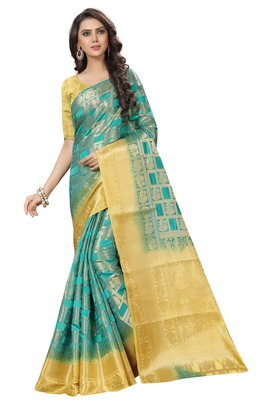 Light blue woven banarasi saree with blouse