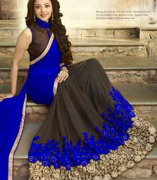 Blue embroidered pure georgette saree with blouse