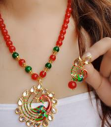 Buy Gold Plated Kundan Meena Peacock Beaded Necklace Set for Women Necklace online