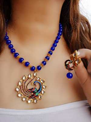 Gold Plated Kundan Meena Peacock Beaded Necklace Set for Women