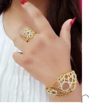 Gold Plated Heavy American diamond Bracelet & Ring Combo for Women