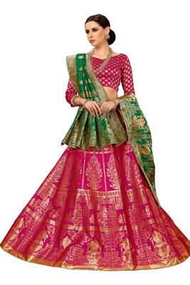 Pink jacquard silk semi stitched lehnega with dupatta