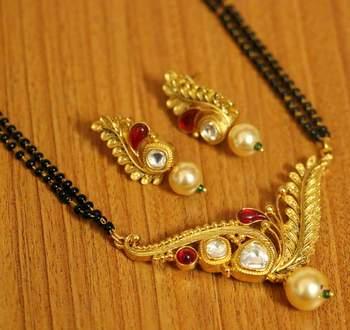 Ruby kundan polki gold plated ethnic managalsutra