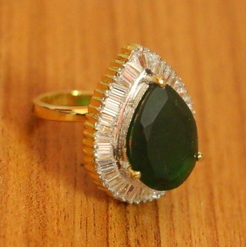 Green Onyx Pear Shaped Adjustable Cocktail Ring