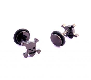 316L surgical stainless steel mens boys ear stud pair earring skull