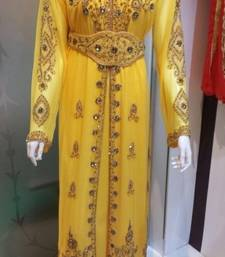 Yellow Georgette Embroidered Stitched Islamic Kaftan