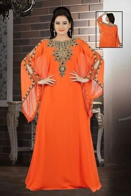 Orange Georgette Embroidered Stitched Islamic Kaftan
