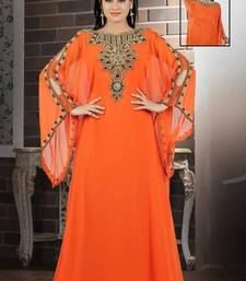 Orange Georgette Embroidered Stitched Islamic Kaftan