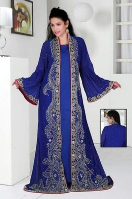 Royal Blue Georgette Embroidered Stitched Islamic Kaftan