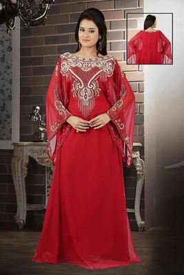 Maroon Georgette Embroidered Stitched Islamic Kaftan