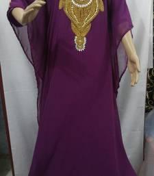 Magenta Georgette Embroidered Stitched Islamic Kaftan