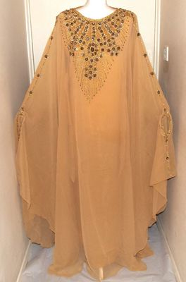 Beige Georgette Embroidered Stitched Islamic Kaftan