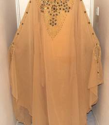Beige Georgette Embroidered Stitched Islamic Kaftan