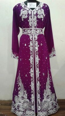 Magenta Georgette Embroidered Stitched Islamic Kaftan