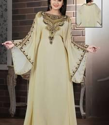 Cream Georgette Embroidered Stitched Islamic Kaftan