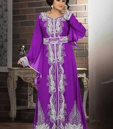 Light Purple Georgette Embroidered Stitched Islamic Kaftan