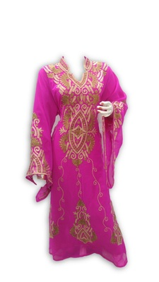 Pink Georgette Embroidered Stitched Islamic Kaftan