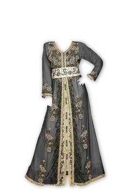 Inner Cream Jakcet Black Georgette Embroidered Stitched Islamic Kaftan