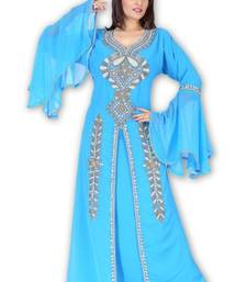 Sky Blue Georgette Embroidered Stitched Islamic Kaftan