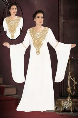 White Georgette Embroidered Stitched Islamic Kaftan