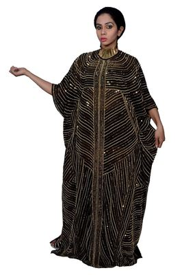 Black Georgette Embroidered Stitched Islamic Kaftan
