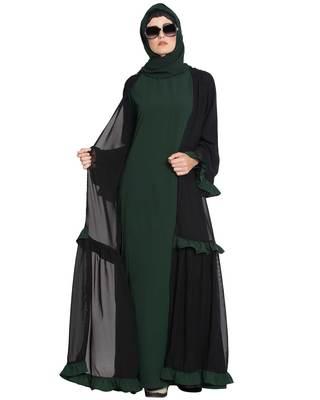 Dark Green Plain Nida Islamic Abaya
