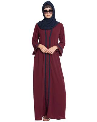 Maroon Plain Nida Islamic Abaya