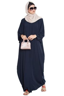 Navy Blue Plain Nida Islamic Abaya