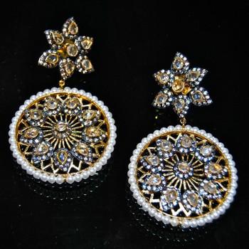 Pearl Uncut Diamond Earrings