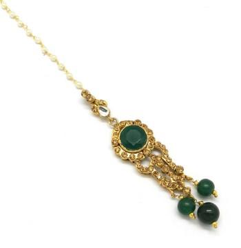 Green  Brass Maang Tikka