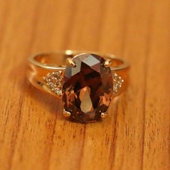Rhodolite crystal gold look filigree work ring
