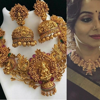 Gold Plated Copper Temple Work High Quality Necklace Set