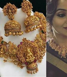 Buy Gold Plated Copper Temple Work High Quality Necklace Set necklace-set online