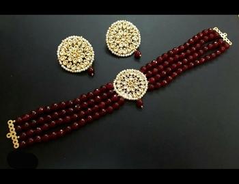 Red Onyx And Kundan Choker Necklace Set