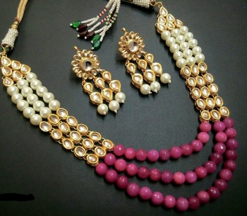 Kundan And Red Onyx Necklace Set With Shell Pearls