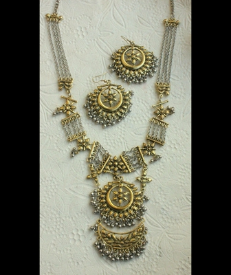 Silver and Gold Two Tone German Silver Necklace Set