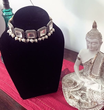 Silver Plated Victorian Polki Choker Necklace