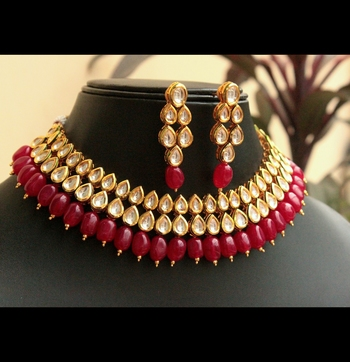 e682155708174 Kundan choker with red onyx stones necklace set