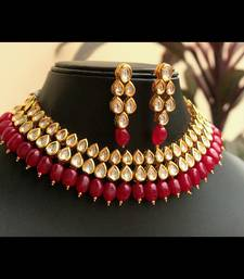 Kundan choker with red onyx Stones Necklace Set indian-dress