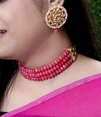 Pink Onyx And Gold Plated Kundan Choker Necklace Set