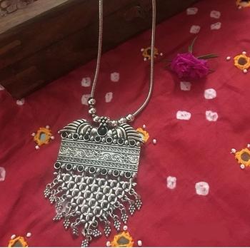 German Silver Oxidised Pendant Long Necklace