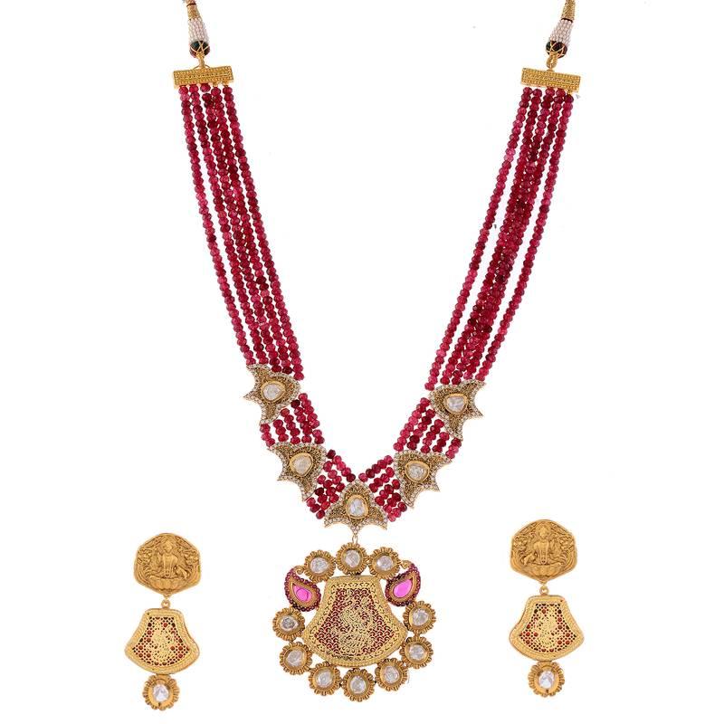 Kanjivaram Beads: Maroon Rodolite Beads Product Thewa Work Necklace