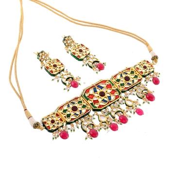 Royal Choker Multicolor Kundan Enamal Work Necklace Set