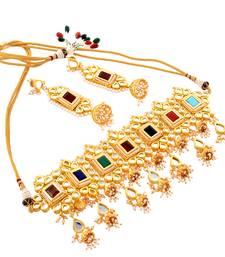 Buy rajwadi choker kundan multicolor bridal  necklace set bridal-set online