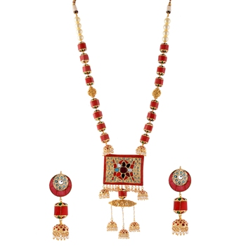 Vintage Look Multicolour  Necklace Withjadau Kundan Work