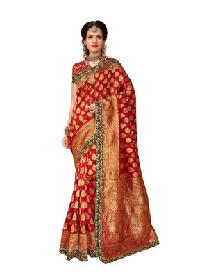 Red embroidered jacquard saree with blouse