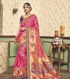 Buy Magenta printed silk saree with blouse silk-saree online